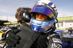 Race winner Christian Montanari celebrates