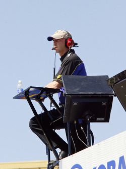 Chad Knaus, crew chief for Jimmie Johnson's #48 Lowe's Chevy, looks on