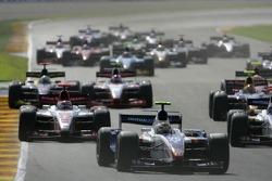 Giorgio Pantano leads Kazuki Nakajima and the rest of the field