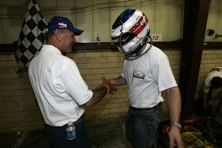 Race winner Bryce Miller celebrates
