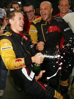 Sebastian Vettel, Scuderia Toro Rosso, celebrates after finsishing 4th