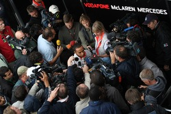 Lewis Hamilton, McLaren Mercedes with the media
