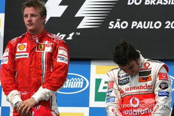 Podium: race winner and 2007 World Champion Kimi Raikkonen, third place Fernando Alonso