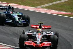 Lewis Hamilton, McLaren Mercedes, MP4-22 leads Rubens Barrichello, Honda Racing F1 Team, RA107