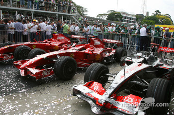 Scuderia Ferrari, F2007 and McLaren Mercedes, MP4-22 , covered in glitter