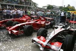Scuderia Ferrari, F2007 and McLaren Mercedes, MP4-22 , covered in glitter