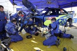 Subaru WRT team members at work