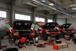 Repsol Ralliart Mitsubishi workshop