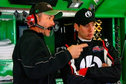 Crew chief Steve Addington speaks with Kyle Bush