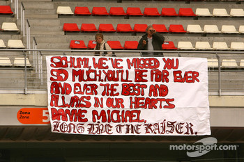 A banner for Michael Schumacher, Test Driver, Scuderia Ferrari