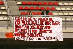 A banner for Michael Schumacher, Test Driver, Scuderia Ferrari