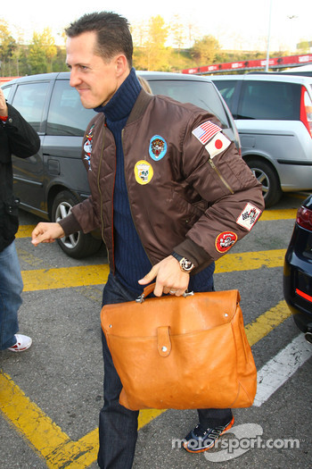 Michael Schumacher, Test Driver, Scuderia Ferrari, arrives