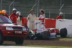 Franck Montagny, Test Driver, Toyota F1 Team, TF107, crashed