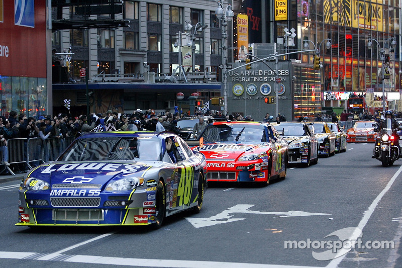 Jimmie Johnson, the 2007 NASCAR Nextel Cup Champion leads Nextel Cup Series drivers in a victory ...