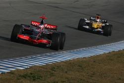 Gary Paffett, Test Driver, McLaren Mercedes, MP4-22 and Nelson A. Piquet, Test Driver, Renault F1 Team, R27