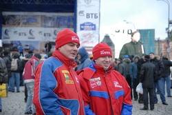Kamaz-Master ceremonial start on the Red Square in Moscow: car category drivers and co-drivers Oleg Tyupenkin and Boris Bukatov