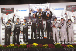 GTD podium: winners Patrick Lindsey, Spencer Pumpelly, Madison Snow, second place John Potter, Andy Lally, Robert Renauer, third place Al Carter, Marc Goosens, Cameron Lawrence
