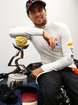 Sergio Perez, Sahara Force India F1 celebrates his third position