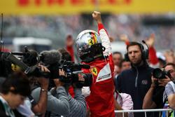 Sebastian Vettel, Ferrari celebrates his second position in parc ferme