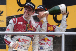 Podium: race winner Jamie Green, Audi Sport Team Rosberg Audi RS 5 DTM, second place Mattias Ekström, Audi Sport Team Abt Sportsline, Audi A5 DTM