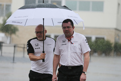 (L to R): Matt Bishop, McLaren Press Officer with Eric Boullier, McLaren Racing Director