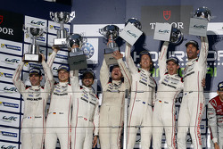 Podium: winners Timo Bernhard, Mark Webber, Brendon Hartley, Porsche Team, second place Romain Dumas, Neel Jani, Marc Lieb, Porsche Team