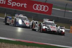 #8 Audi Sport Team Joest Audi R18 e-tron quattro: Lucas di Grassi, Loic Duval, Oliver Jarvis and #1 Toyota Racing Toyota TS040 Hybrid: Sébastien Buemi, Anthony Davidson, Kazuki Nakajima