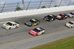 Elliott Sadler and Carl Edwards lead a group of cars