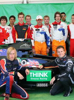 Brendon Hartley, driver of A1 Team New Zealand and Jonny Reid, driver of A1 Team New Zealand with the Think Greener racing Biofuel