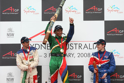 Winner, 1st, Adrian Zaugg, driver of A1 Team South Africa, 2nd, Neel Jani, driver of A1 Team Switzerland, 3rd, Robbie Kerr, driver of A1 Team Great Britain