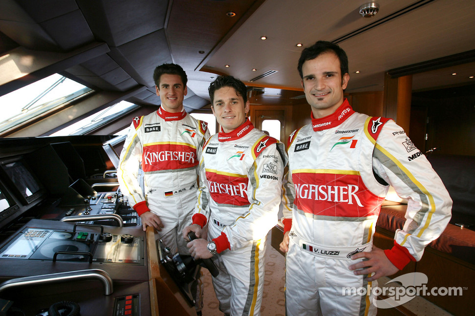 Adrian Sutil, Giancarlo Fisichella and Vitantonio Liuzzi