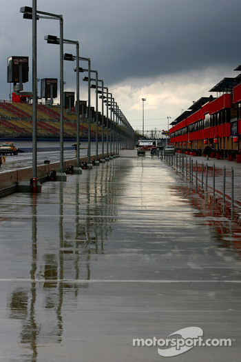 Rain forced postponment of all on track activities at the Auto Club Speedway on Friday