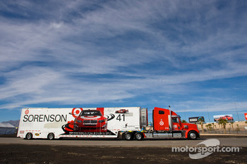 The Target team hauler makes its' way into the Las Vegas Motor Speedway