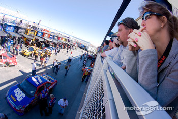 Fans watch over the USG Dewalt Cup car garage