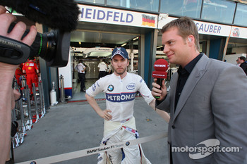 Nick Heidfeld, BMW Sauber F1 Team yalking with Peter Lauterbach [TV Premiere]