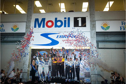 P2 podium: class and overall winners Timo Bernhard, Romain Dumas and Emmanuel Collard, provisional second place Adrian Fernandez and Luis Diaz, third place Butch Leitzinger, Marino Franchitti and Andy Lally