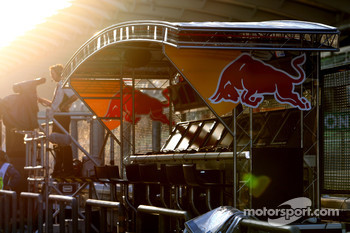 The Red Bull Racing pit perch in the morning sun