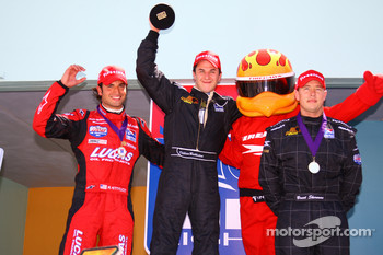 Podium: race winner Dillon Battistini with Richard Antinucci and Brent Sherman