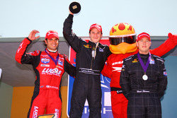 Podium: race winner Dillon Battistini with Richard Antinucci and Brent Sherman