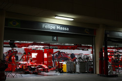 Felipe Massa, Scuderia Ferrari car in the garage at night