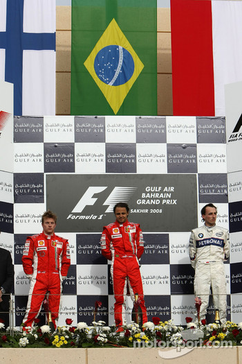 Podium: race winner Felipe Massa, second place Kimi Raikkonen, third place Robert Kubica