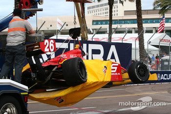 The damage to Arie Luyendyk Jr's car