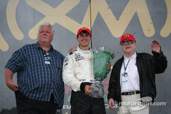 Graham Rahal with team owners Lanigan and Haas
