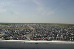 Thousands of cars parked outside Texas Motor Speedway