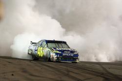 Race winner Jimmie Johnson celebrates