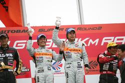 GT300 podium: class winners Morio Nitta and Shinichi Takagi