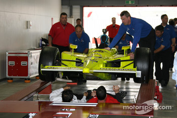 IndyCar series officials at tech inspection