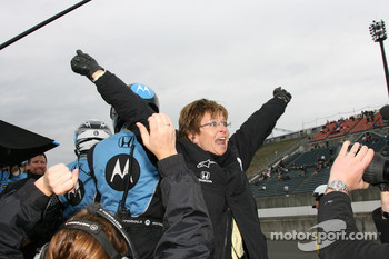 Danica Patrick's mom celebrates as her daughter wins the Indy Japan 300