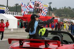 Race winner Danica Patrick takes a victory lap