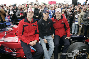 Martin Tomczyk, Sebastian Vettel and Mattias Ekström